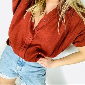 Urban outfitters rust cotton pleated drapey blouse